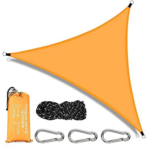 RANJIMA Voile d'ombrage Triangulaire, 3x3x3m Toile Ombrage Triangle Imperméable, Toile d Ombrage Protection Rayons UV pour Jardin Terrasse Balcon Piscine, avec Fixation d'auvent, Orange
