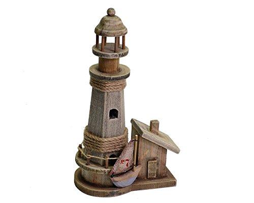 Zelda Bomboniere Dekoration Möbel Meer Leuchtturm Holz natur mit Vogelhaus 17,5cm x 11x H33
