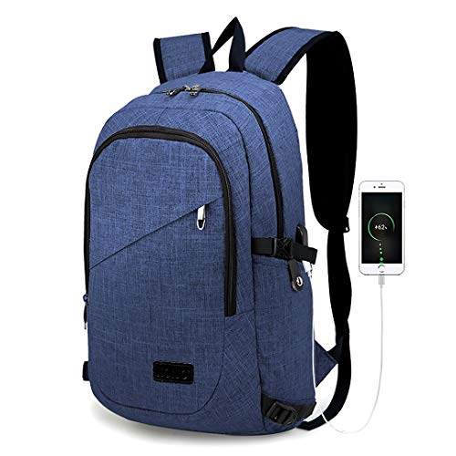Kono Laptop Backpack Business Travel Backpack Bag with USB Charging Port College School Computer Rucksack Work Backpack for Mens Womens Fits 15.6 Inch Laptop (Navy Blue)