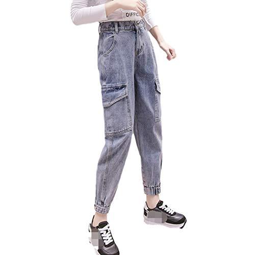 Luandge Pantalones Vaqueros Harlan para Mujer, Cintura elástica Media, pies con viga, Bolsillos múltiples, Pantalones de Mezclilla Casuales de Moda con Botones XXL