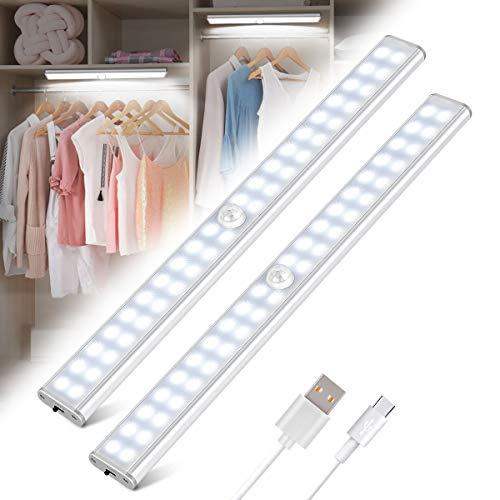 Luz Armario 40 LED, USB Recargable Luces LED Armario con Sensor Movimiento, 3 Modos Lámpara LED de Armario con Tira Magnética, Para Armario, Cocina, Escalera, Pasillo (2 Paquetes)
