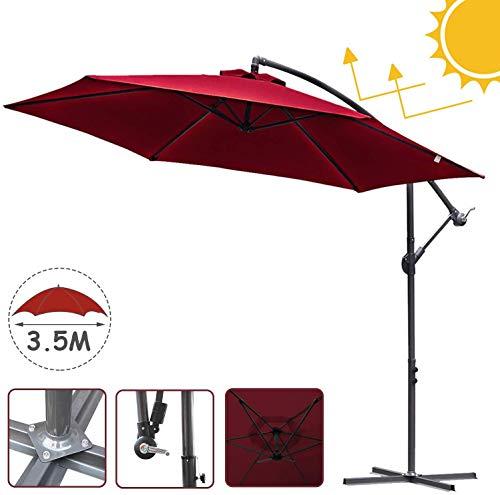 SUN RDPP 350 cm freitragender Sonnenschirm Gartenschirm Sonnenschirm für Außen-, Garten- und Terrassen-UV-Schutz UPF 40+,Rot