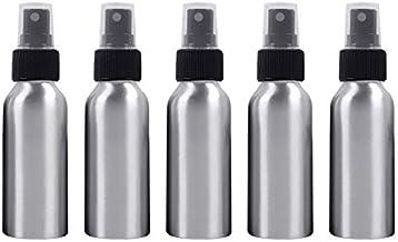 5 PCS Botella Recargable de Cristal Fina Niebla atomizadores de Aluminio, 100 ml (Negro) fácil de Llevar Botella de Spray (Color : Black)