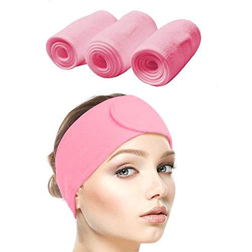 Queta Haarband für Make Up, Kosmetik Stirnband Frottee, verstellbare Haarschutzband mit Klettverschluss 3pcs (Rosa)
