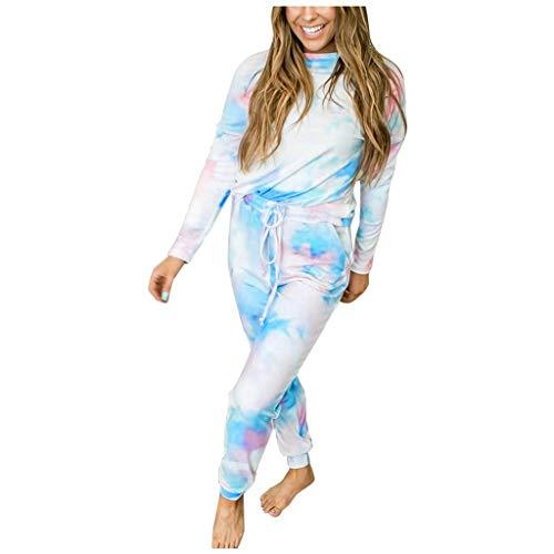 Xniral Langarmshirt + Hosen 2 Stücke Bekleidungssets für Damen Tie-Dyed Gedruckt Langarm Jogginganzug Pyjama(c-Blau,L)