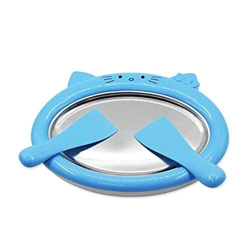 ZHIRCEKE Placa de Hielo Teppanyaki - Máquina rodante de Helados - Rollo de Bricolaje - Máquina de Helados - con Recetas - para Hacer Rodillos de Helado, portátil, fácil de Limpiar,Azul