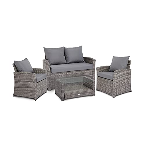 Gatarn Rattan Garden Furniture Sofa Set, 4 Seater Wicker Weave Outdoor Sofa Set With Chairs, Table and Cushions for Conservatory, Patio, Balcony - Grey