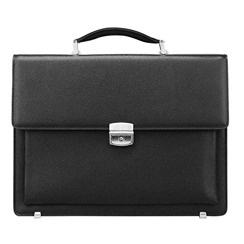 Ronts Mens Leather Briefcase with Lock 14 Inch Laptop Business Bags Attache Case Work Bag Executive Handbags Black