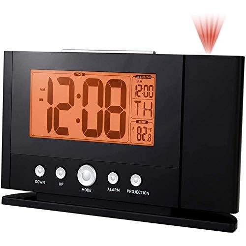 TUIHJA Reloj Despertador de ProyeccióN Digital con EstacióN MeteorolóGica, TermóMetro para Interiores y Exteriores, Reloj Despertador para Dormitorio Doble