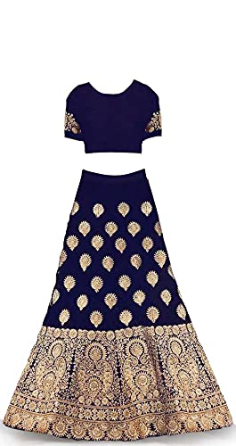 New Fashion adda Girl's Raw Silk Semi stitched Lehenga Choli (FA_K_Wedding_Blue_6-7 Years)