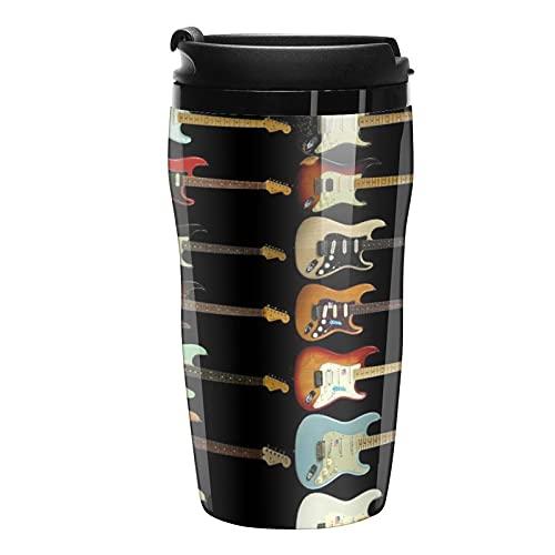 Botella de agua guitarra eléctrica viaje tazas de café tazas con tapa