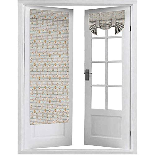 Cortinas francesas para puerta, lindas historietas infantiles con varios artículos de ropa en líneas de diseño de cuadernos, chupetes, 1 panel de 66 x 172 cm para cortinas de ventana, multicolor