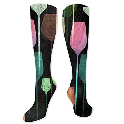 heefan Calcetines deportivos para copas de vino para cócteles y muslos por encima de la rodilla