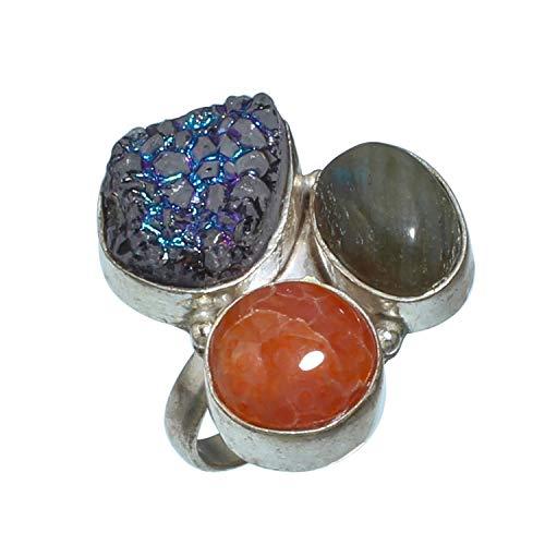 Hermoso anillo de titanio drusa y cornalina, piedra preciosa de labradorita hecho a mano chapado en plata de ley 925 – Anillo de declaración – (SF-1857) – (tamaño del anillo (US) – 8,5)