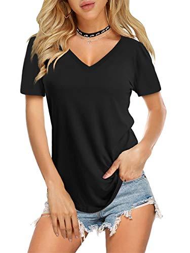 Amoretu Women Summer T Shirts Short Sleeve Curved Hem Solid Color Tops(Black,L)