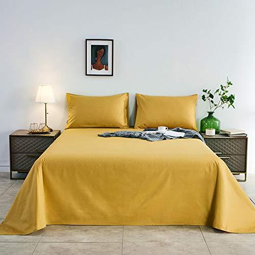 Colcha de Color de Pigmento Puro 1.5M1.8M2M, sábanas Gruesas de 100% algodón, Ropa de Cama para el hogar cúrcuma 1.2 Cama (180 * 230 cm)