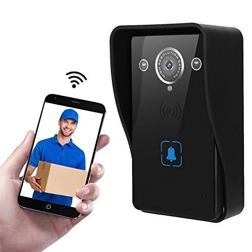 HD WiFi Inalámbrico Timbre Video, Cámara Seguridad de intercomunicación con Visión Nocturna, Detección Movimiento PIR, para iOS Android(EU)