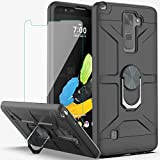 YmhxcY Compatible for LG Stylo 2/Stylo 2 Plus/Stylus 2/Stylo 2 V Case with HD Screen Protector,360 Degree Rotating Ring Kickstand Holder Dual Layers of Shockproof Case for LG LS775-ZS Black