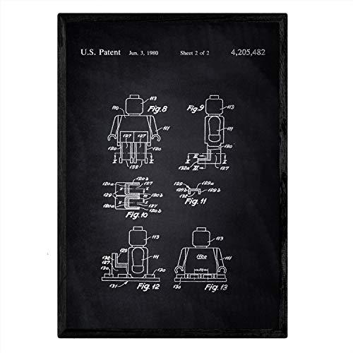 Nacnic LEGO Minifigur Patent Poster. Vintage Stil Wanddekoration Abbildung von Spielzeuge und Kinder Puppen. Verschiedene geometrische Alte Erfindungen Bilder ohne Rahmen. Größe A3.