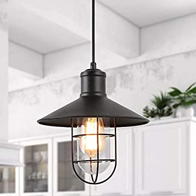 LNC Black Pendant Lighting, Industrial Cage Hanging Light Fixture with Glass Shade for Kitchen Island, Hallway, Dining Room, Foyer and Bedroom