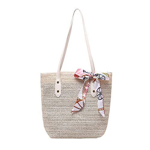 Bolsas de paja, bolso de mano de playa de verano con asa tejida para mujeres y niñas