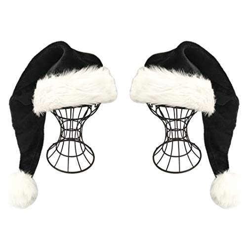 Black Santa Hat - Adults Deluxe Black and White Xmas Christmas Hat Pack 2 pcs