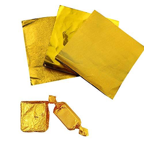 600 Stück Süßigkeiten-Pralinen-Folien-Wrapper,goldfarbene Aluminiumfolie,10x10 cm,lebensmittelechte quadratische Aluminiumfolien,Wrappers für DIY Süßigkeiten von Party,Weihnachtsdekoration(3 Stile)