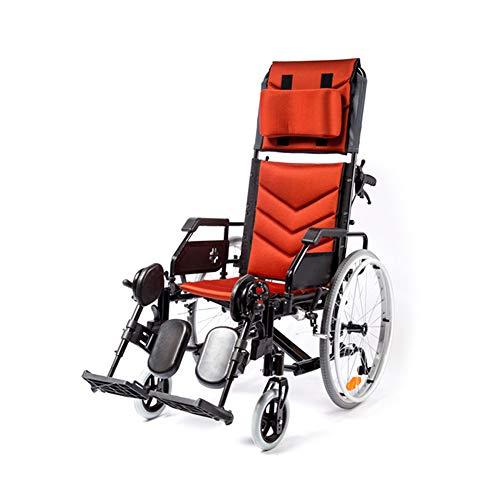 Respaldo Alto Silla de Ruedas reclinable Completa, Marco de Aluminio Ligero Plegable...