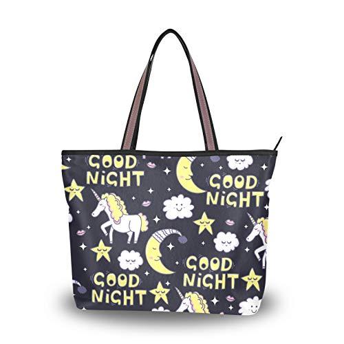 NaiiaN Unicorn Stars Clouds Lips Moon Baby Umhängetaschen für Frauen Mädchen Damen Student Handtaschen Einkaufstasche Geldbörse Shopping Light Weight Strap