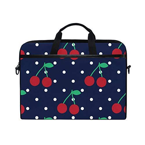 DOSHINE Laptop Bag Case Sleeve Cherry Fruit Polka Dot Pattern Notebook Computer Bag for 14-14.5 inch Adjustable Shoulder Strap, Back to School Gifts for Men Women Boy Girls