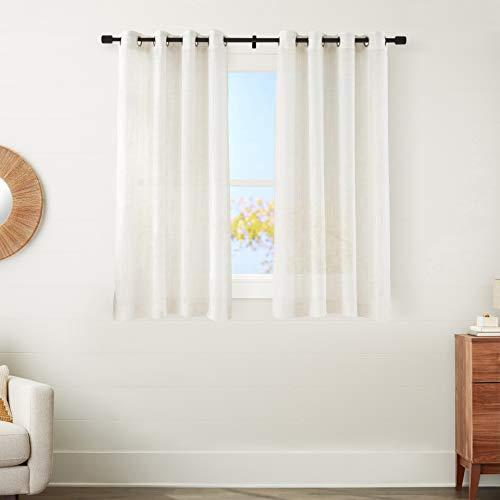 "Amazon Basics Sheer Window Panel Pair with Grommets - 50"" x 63"", Classic White"