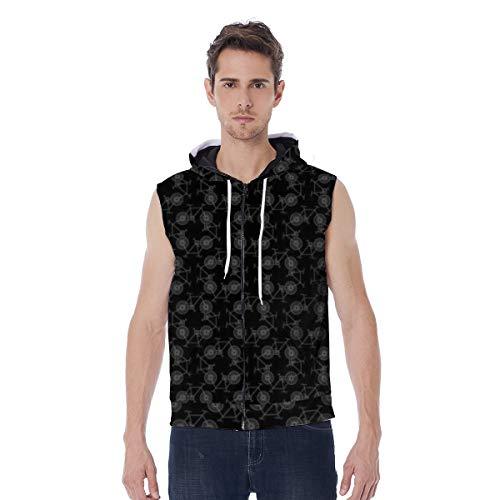 T-ara tendencia líder Sudaderas con capucha for hombres All-Over MinDiskirt Bike Impreso Drawstring Total Zip Mensaje Unisex Suéter Muti Tamaños con bolsillo negro Super comodo