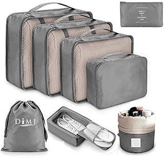 DIMJ Packing Cubes for Travel, 8Pcs Travel Cubes Set Foldable Suitcase Organizer Lightweight Luggage Storage Bag (Gray)