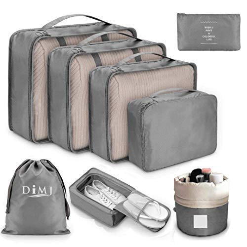 DIMJ Packing Cubes for Travel, 8Pcs Travel Cubes Set Foldable Suitcase Organizer Lightweight Luggage Storage Bag (Gray)