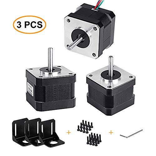 Yofuly Nema 17 Motor paso a paso 1,7 A 40 Ncm 56,2 oz. en 2 fases 4 cables 1,8 Deg Motor paso a paso con cables de motor bipolar y 3 Pack Kit de soporte de montaje para impresora 3D/CNC