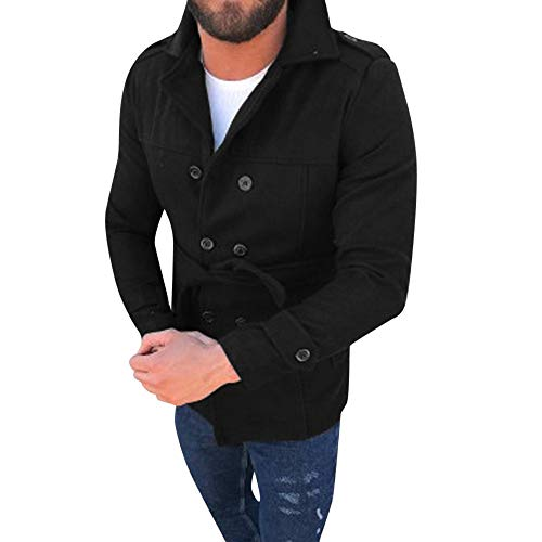 Morran Hombres Abrigo de Invierno Slim Elegante Trench Coat Double Breasted Chaqueta Larga con Encaje Abrigo Chaqueta