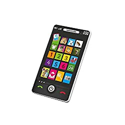 """Realistic looking touch sensitive Smartphone! This interactive device is manageable for little hands and offers a """"discovery"""" mode featuring 4 fun games to help little ones learn colours, numbers, names and animal names and sounds. The high sensitivi..."""