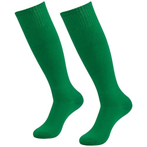 Long Soccer Socks, Three street Adult Big Boys Over Knee High Length Solid Pattern Anti-Slip Athletic Football Softball Hocky Long Tube Crew Halloween Party Socks 2 Pairs
