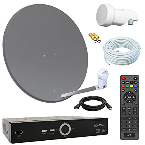Bundle by netshop 25 Digital SAT Anlage 60cm + HD Receiver + 10m Kabel + Opticum Single LNB = HD Komplett Set (3 Farben wählbar)