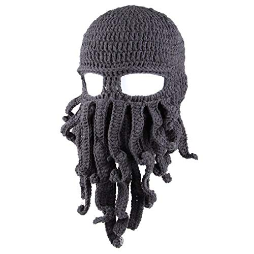Save %32 Now! jweemax Octopus Kraken Hat, Beard Hat Winter Warm Funny Beanie Hat Face Mask Dark Grey