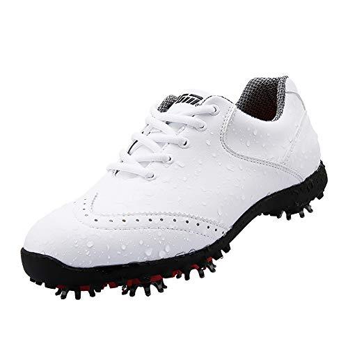 XFQ Zapatos del Golf De Las Mujeres, Casual Impermeable De Moda De Cuero Zapatillas De Deporte del Golf Spikes Giratoria Hebilla,Blanco,37EU