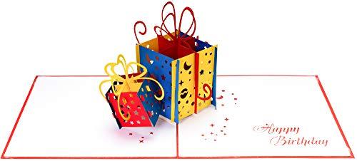 3D Geburtstagskarte – 2 bunte Geschenke – Pop up Karte, Glückwunschkarte Geburtstag, Grußkarte, Geschenkkarte als Gutschein oder für Geldgeschenk, Happy Birthday Card, Geburtstagskarten - 5
