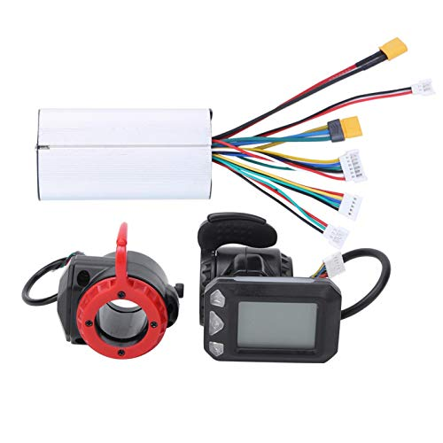 Alomejor 5,5 Zoll Motor Brushless Controller, 24V 250W Kohlefaser Elektroroller Motor Controller Kit mit LCD-Anzeigefeld für E-Bike(Controller + Throttle + Brake)