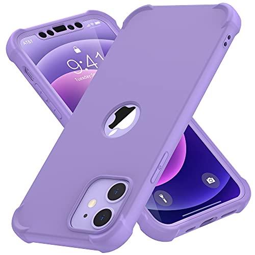ORETECH Funda Compatible con iPhone 12 Mini, con [2X Protector de Pantalla de Vidrio Cristal Templado]360 Antichoque Ligera Silicona Gel PC Carcasa Rubber Bumper Caso para iPhone 12 Mini 5.4'-Púrpura