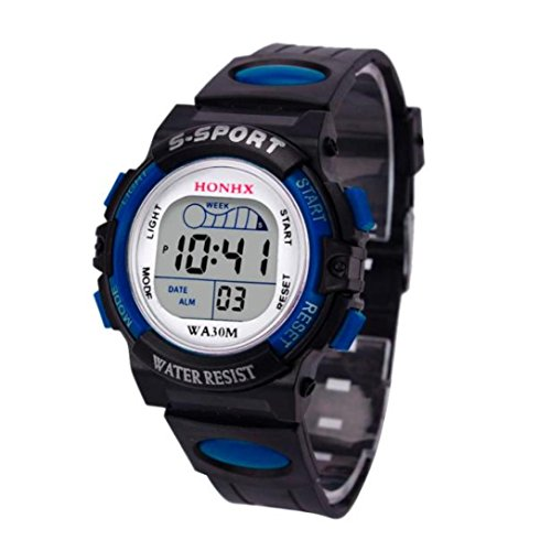 Kinder Uhren Digital Xinantime 2018 wasserdichte Jungen Digital LED Sport Kinder Alarm Datum Geschenk Armbanduhren Schwarz/Blau/Orange/Rot/Gelb (Standard, Blau)