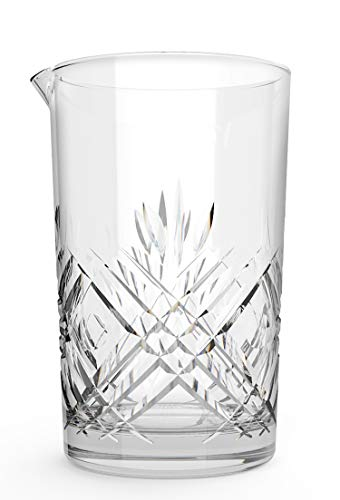 Jucoan 24oz Crystal Cocktail Mixing Glass, Thick Weighted Bottom Stirring Glass Drink Maker for Bar, Bartenders