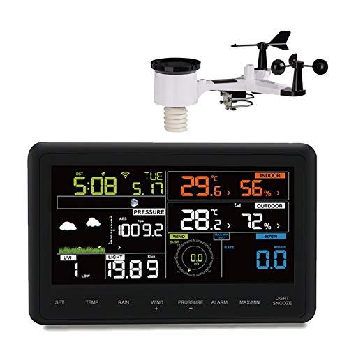 Professionele weerstation 7-in-1, 7 metingen, kleurendisplay, weerswaarschuwingen, levende weergegevens, nauwkeurige informatie, LED, WiFi, app-compatibel