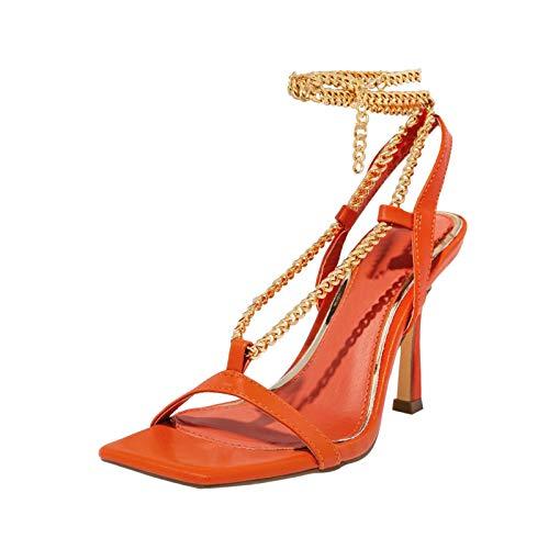 Sandalen Damen Mode Kreuzkette Große Größe Reine Farbe High Heel Sandalen (37,orange)
