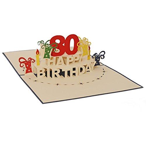 Favour Pop Up Glückwunschkarte zum runden 80. Geburtstag. Ein filigranes Kunstwerk, das sich beim Öffnen als Geburtstagstorte entfaltet. ALTA80B