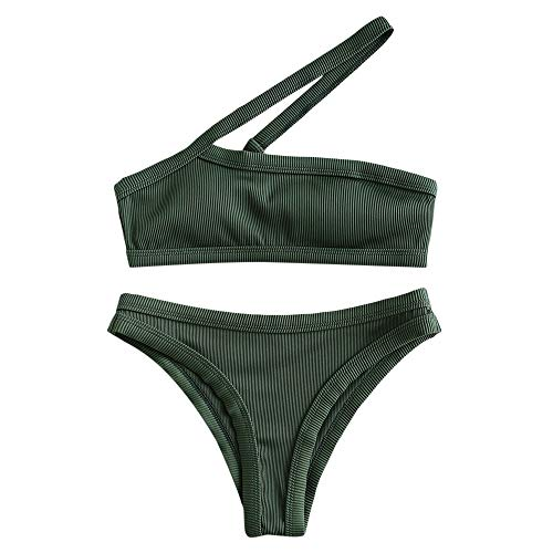 ZAFUL Women's One Shoulder Cut Out Ribbed Bandeau Bikini Set Two Piece Swimsuit (Deep Green, L)